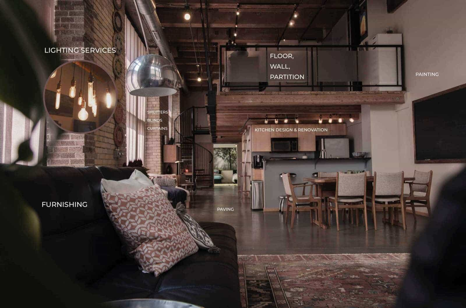 design idea for an open floor plan apartment with a loft area