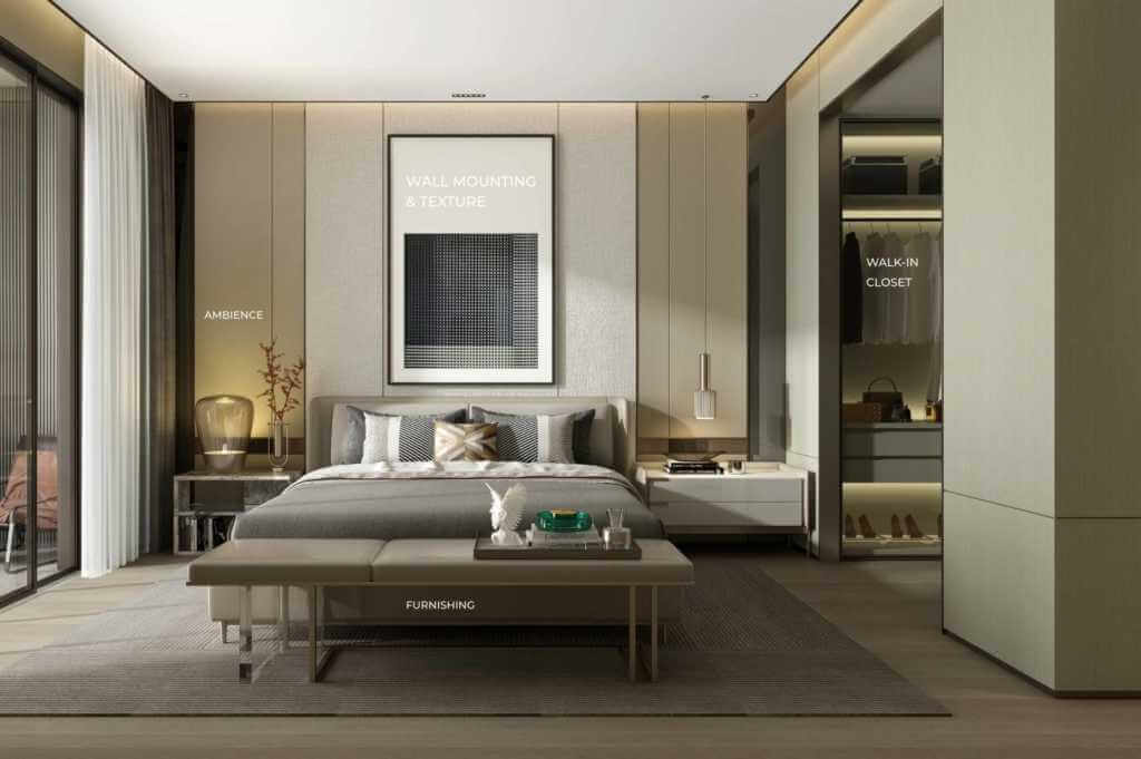 a look into a modern bedroom, connected to a walk-in closet and tall windows