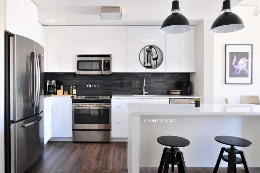 a black and white themed kitchen with a central island, bar stools, and accent lighting
