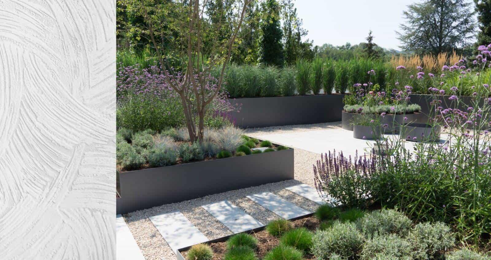 a landscape design featuring a wide assortment of plants