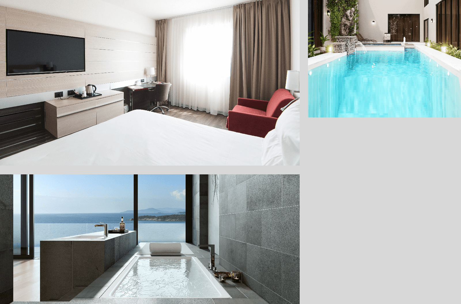bright and modern looking hotel rooms with scenic views